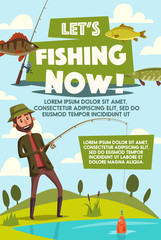 Vector poster of fisherman with fish rod