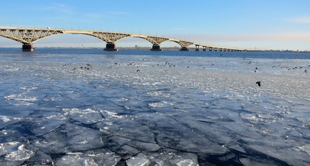 Bridge over the Volga river, covered with ice from Saratov to Engels.