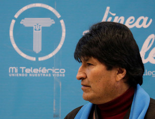 """Bolivia's President Evo Morales is seen during the inspection of a new cable car line of """"Mi Teleferico"""" Company in La Paz"""