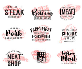 Vector sketch lettering for meat products