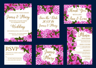 Vector wedding greeting cards of flowers