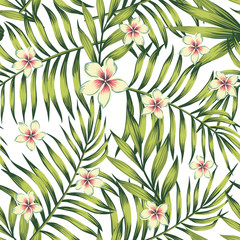 Plumeria palm leaves green seamless pattern