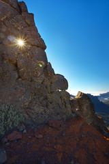 Rock with a hole through which goes sun light, above the crater Caldera de Taburiente, Island of La Palma, Canary Islands, Spain