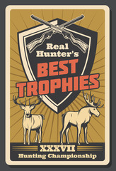 Vector retro poster for hunter trophy