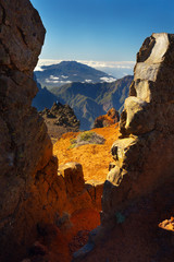 Landscape above the crater Caldera de Taburiente, Island of La Palma, Canary Islands, Spain