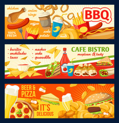 Fastfood burgers and sandwiches vector banners
