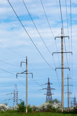 A high-voltage electric power lines.