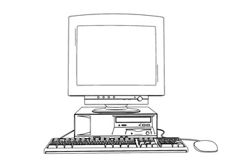 sketch of old computer vector