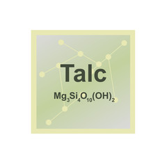 Vector symbol of Talc or Talcum from the Mohs scale of mineral hardness on the background from connected molecules