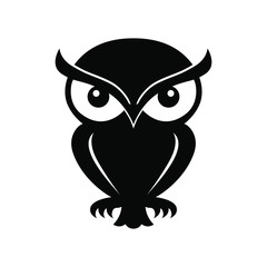 Icon owl. Flat sign owl. Isolated black logo owl on white background. Vector Illustration