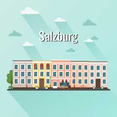 Salzburg Austria vector illustration. Flat design.
