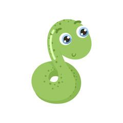 Cute cartoon snake vector illustration.