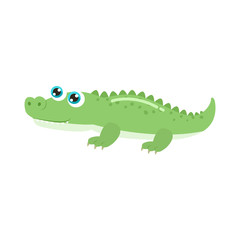 Cute crocodile vector illustration. Flat design.