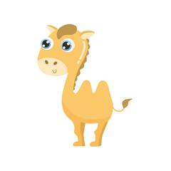 Cute cartoon camel vector illustration. Flat design.