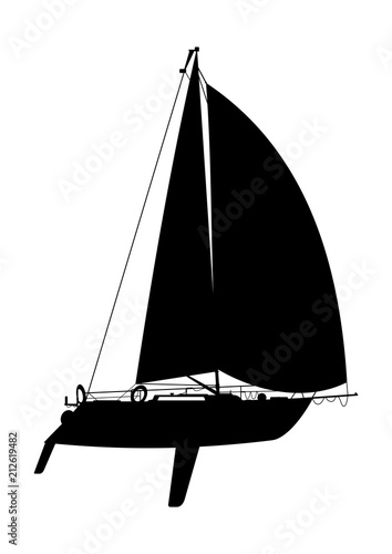 Side view of a sailing boat  Black silhouette of a yacht on