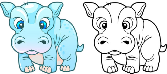 cartoon cute little hippopotamus, funny design illustration