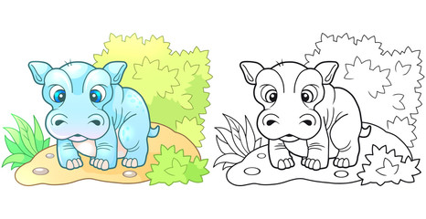 cartoon cute little hippopotamus, funny design illustration