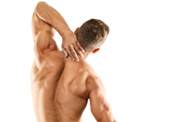 Young man showing his muscular back