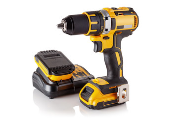 cordless drill, screwdriver, charger and battery