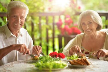 Senior couple having diner
