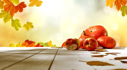 table background of free space and autumn time