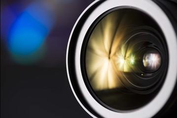 dslr camera lens front element close up. photography lens