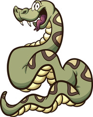 Happy cartoon boa constrictor snake. Vector clip art illustration with simple gradients. All in a single layer.