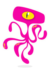 Angry cartoon monster alien with tentacles. Vector Halloween illustration