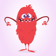 Angry cartoon monster. Vector red monster illustration. Halloween design
