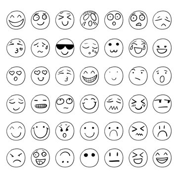 Vector Hand Drawn Smiley Faces Set, Black Outline Drawings Isolated.