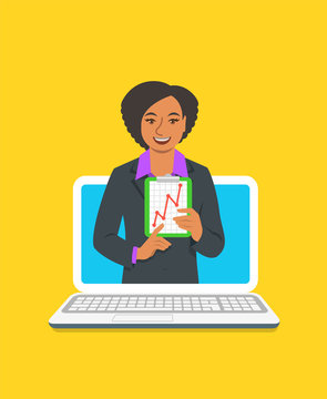 Online business coaching concept. Vector flat illustration. Young woman business coach on computer monitor holds graphic of money growth. Business training on internet. Marketing strategy presentation