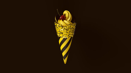 Yellow and Black Ice Cream with Sprinkles Striped Chevron Pattern with two round Biscuits and a Cherry on Top 3d illustration
