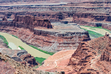 Dead Horse Point aerial view with Colorado River