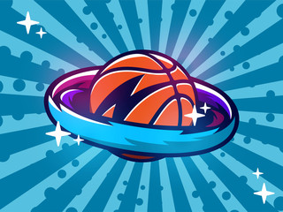 Modern professional vector emblem basketball planet for tournament or team