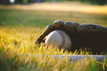Baseball in glove with bat laying in grass field background during summer sport season.