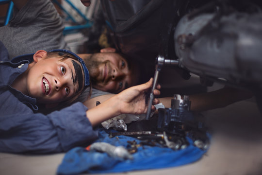 Mechanics.Workers. Family concept.