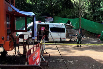 An ambulance is seen in front of the Tham Luang cave complex in the northern province of Chiang Rai Chiang Rai