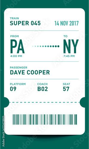 Train Ticket Template | E Ticket Or Boarding Pass Card Template With Bar Code Train Ticket