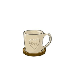 Taza de café color beige con un posavasos