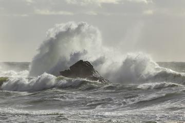 Autocollant pour porte Eau Stormy wave splash