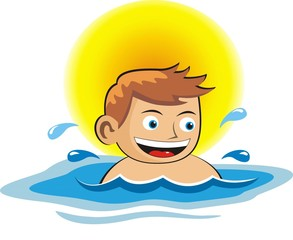 child boy swimming in the swimming pool. vector illustartion.