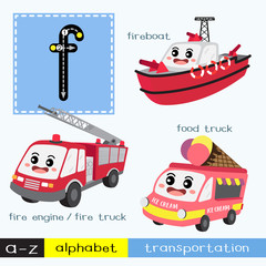Letter F lowercase children colorful transportations ABC alphabet tracing flashcard for kids learning English vocabulary and handwriting Vector Illustration.