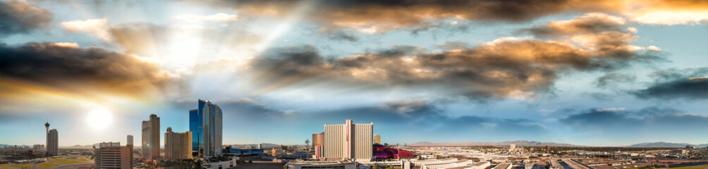 Las Vegas, Nevada. Aerial view at sunset, city panorama