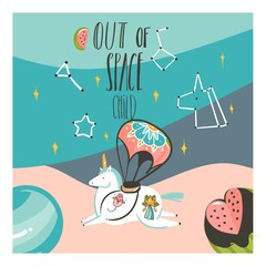 Hand drawn vector abstract graphic creative cartoon illustrations card template with astronaut unicorn with tattoo, planets in cosmos with Out Of Space calligraphy isolated on pastel background