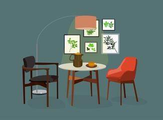 vector interior design illustration. dining room furniture. home house decor decoration. table chairs lamp. designer trendy style. interior design trend.