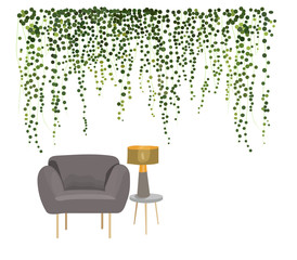 interior design vector illustration. modern style furniture. designer armchair lamp ivy plant wall. botanical home house decoration decor. grey designer armchair.