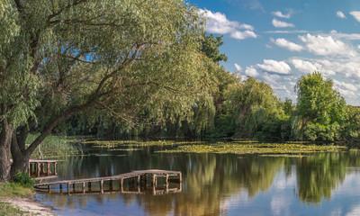 Colorful spring summer landscape on river