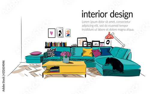 Vector Interior Design Illustration Modern Living Room Decor Contemporary Designer Furniture Hand Drawn