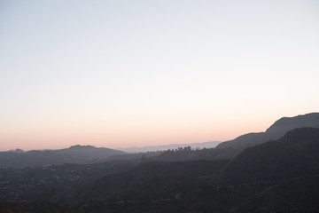 Sunset over the hills around Los Angeles