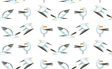 Hand drawn vector abstract cartoon summer time graphic illustrations artistic seamless pattern with flying sea gulls birds on beach isolated on white background
